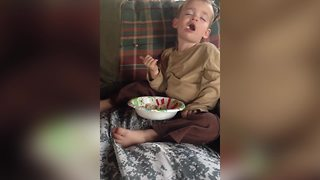 Kid Falls Asleep While Eating, Ultimate Relaxation Goals - Video
