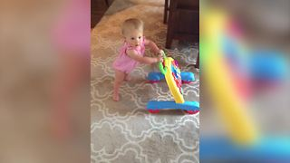 Baby Girl Falls Down While Learning To Walk - Video