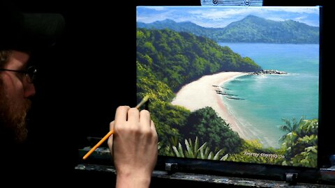 Acrylic Seascape Painting of a Tropical Island - Time Lapse - Artist Timothy Stanford