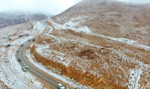 Drone Shows Snow-Covered Mountains in Saudi Arabia