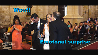 Emotional surprise at the wedding. Tears of emotion  - Video
