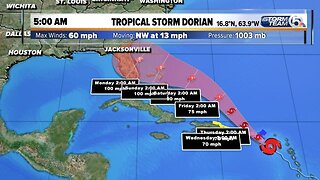 Wednesday 5 a.m. Update: Dorian forecast to become Category 2 hurricane