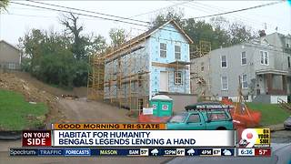 Bengals legends offer helping hand to Habitat for Humanity building site - Video