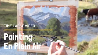 Time Lapse Video - EN PLEIN AIR Painting at the Matukituki River, New Zealand