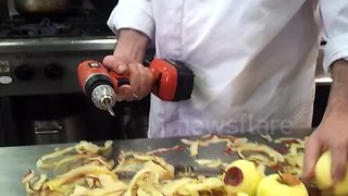 Chef Invents A New Way Of Speed Peeling Apples With A Power Drill - Video
