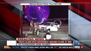 Truck crashes into Southwest Airlines plane at BWI - Video