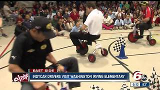 IndyCar drivers visit Washington Irving Elementary School