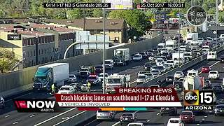 I-17 Glendale crash closes several lanes during rush hour - Video