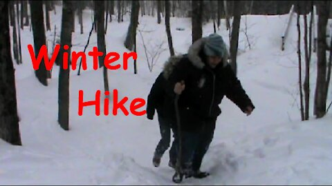 Winter Hike On The Mountain Trail