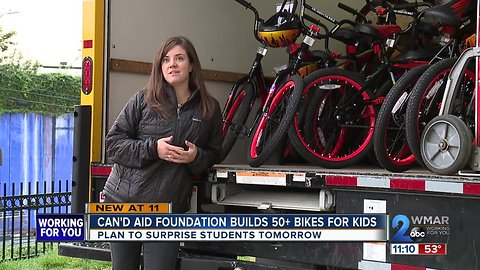 Over 50 Baltimore first-graders to receive free bikes