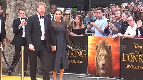 Prince Harry and Meghan Markle on red carpet for 'Lion King' premiere