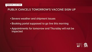 Publix cancels Wednesday's COVID-19 vaccine appointment signups