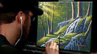 Acrylic Landscape Painting of a Forest Waterfall & White Wolf - Time-lapse - Artist Timothy Stanford