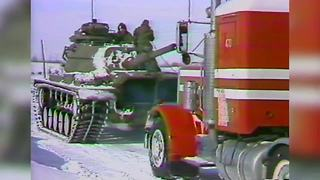 Blizzard of 1978 Indianapolis: Tanks pulling stranded semis - Video