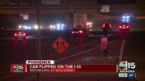 Car flips over on I-10 WB at 16th Street