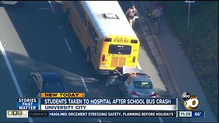Students taken to hospital after car hits bus in University City