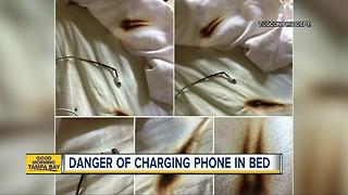 Fire department: Don't charge phone under pillow - Video