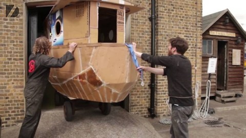 These Enthusiasts Made A House Boat Of 100% Recycled Cardboard