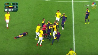 Neymar Fighting with Colombian Players - Rio 2016 - Video