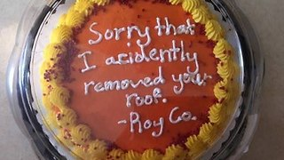 Roofer Buys Cake As an Apology for Roofing the Wrong House - Video