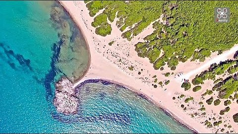 Drone view of magnificent sandy beach in Ileia, Greece