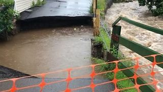 Roads Washed Out by Flooding in Saint Clair, Pennsylvania - Video
