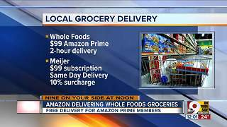 Amazon delivering Whole Foods groceries - Video