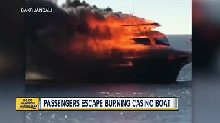 Dozens escape casino shuttle boat fire in Port Richey - Video