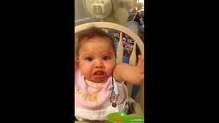 Baby's hilarious reaction to peaches - Video
