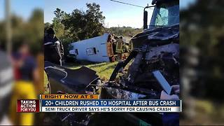 At least 22 taken to hospital in school bus crash involving tractor-trailer in Highlands County - Video