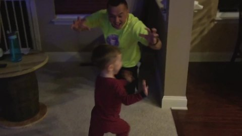 Tot Boy Gets Scared While Playing Hide And Seek With His Dad