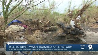 Rillito River wash trashed after storm