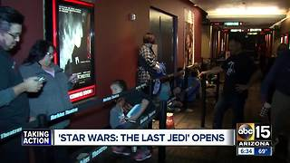 Fans line up for latest Star Wars movie - Video