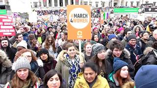 Thousands rally for gender equality in London - Video