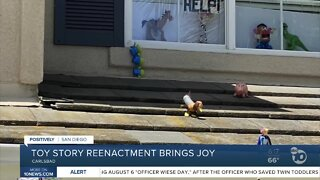 Carlsbad family spreading joy with Toy Story reenactment