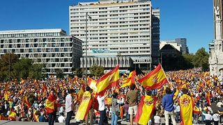Supporters of Spanish Unity Chant Together at Madrid Rally - Video