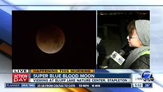 People gather at Bluff Lakes Nature Center to see Super Blue Blood Moon - Video