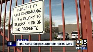 Man arrested for stealing from police cars in Phoenix - Video