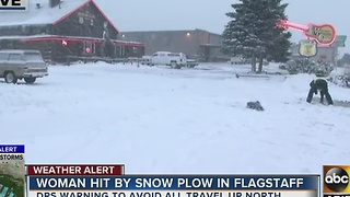 Woman in critical condition after being hit by snowplow Friday in Flagstaff