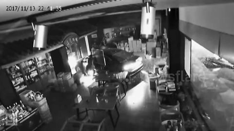 Car smashes into shop when driver presses accelerator by mistake