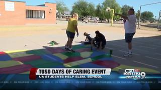 College students volunteer to help with elementary school beautification project - Video