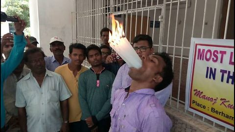 Indian student sets two world records by stuffing 21 lit candles and 90 grapes in mouth