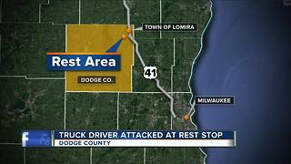 Truck driver robbed, assaulted in bathroom stall of Dodge County rest stop - Video
