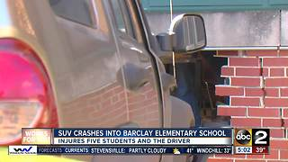 SUV crashes into Barclay Elementary School - Video