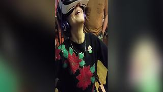 Woman Enjoys Her First VR Experience - Video
