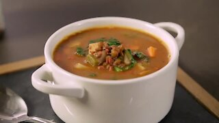 Sopita Picosa of Lentils with Chorizo and Vegetables