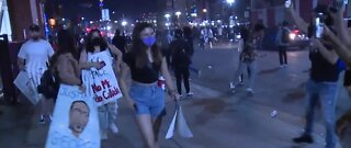 Thousands disperse after protests in downtown Las Vegas Saturday