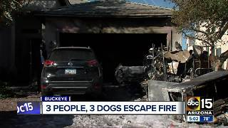 Buckeye family escapes house fire that injured firefighter - Video
