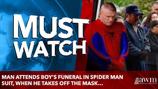 Man Attends Boy's Funeral In Spider Man Suit, When He Takes Off The Mask… - Video