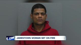 Jamestown man accused of setting woman on fire - Video
